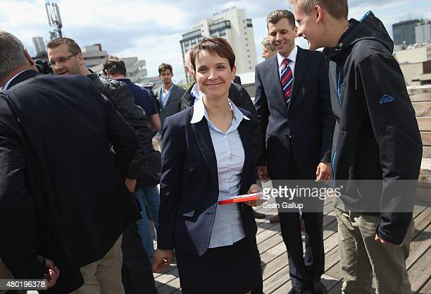 Frauke Petry new cospeaker and coleader of the Alternative fuer Deutschland political party departs after speaking to the media at AfD headquarters...