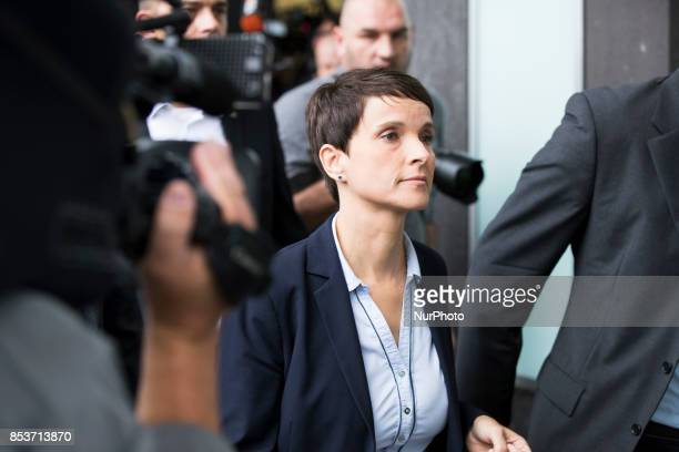 Frauke Petry of Alternative for Germany leaves unexpectedly a press conference after announcing that she won't become a member of the AfD fraction in...