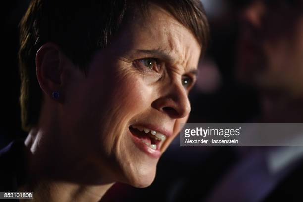 Frauke Petry of the Alternative fuer Deutschland gives an interview after reaching a betterthanexpected 13% and third place finish in German federal...
