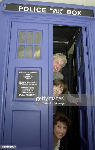 Frazer Hines Elisabeth Sladen and Carol Anne Ford revisit the Doctor Who travel machine 'Tardis' at the BBC TV studios in White City * The three...