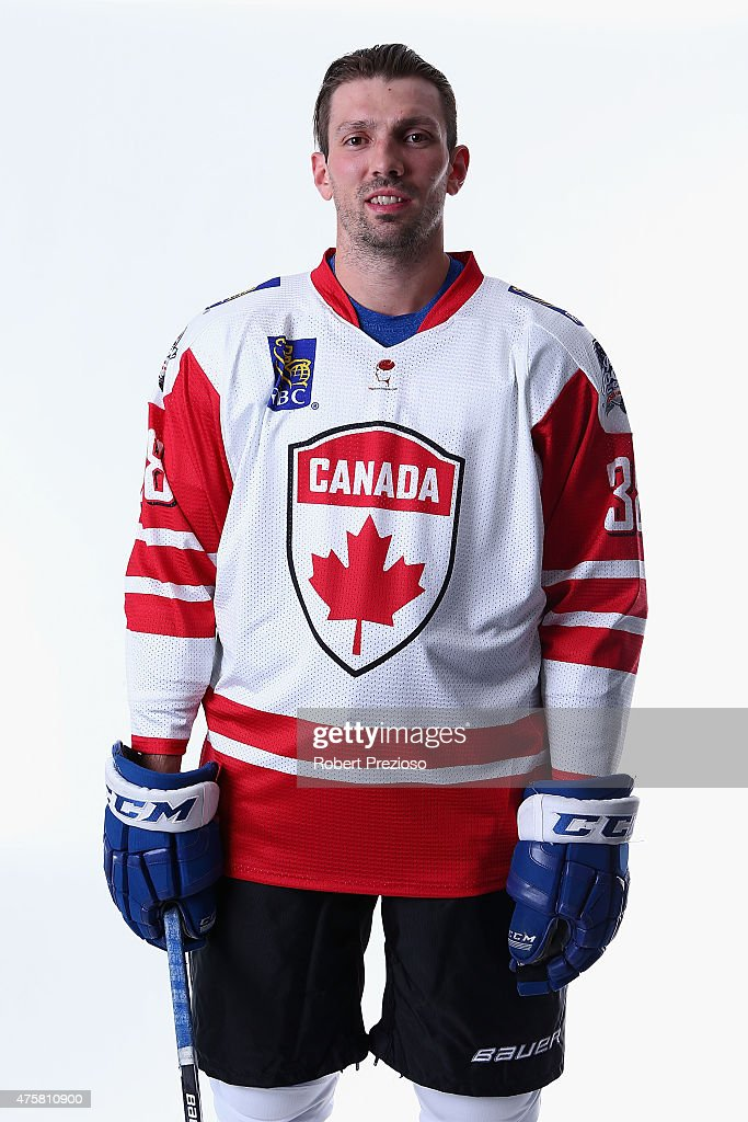 Frazer Mclaren of Canada poses for photos during the 2015 Ice Hockey Classic media opportunity at Rod Laver Arena on June 4, 2015 in Melbourne, Australia.