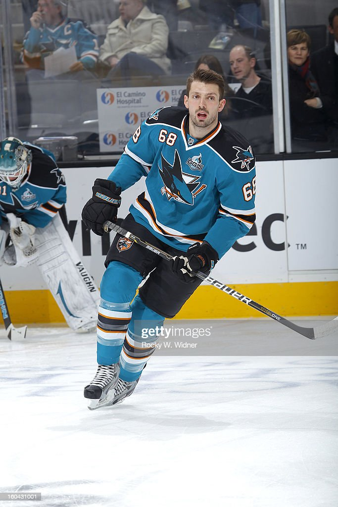 Frazer McLaren #68 of the San Jose Sharks warms up against the Anaheim Ducks at the HP Pavilion on January 29, 2013 in San Jose, California. The Sharks defeated the Ducks 3-2.