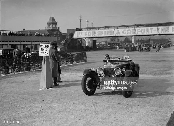 FrazerNash competing in the JCC Rally Brooklands Surrey 1939 Artist Bill BrunellFrazerNash 1496 cc Event Entry No 65 Place Brooklands JCC Rally Date...