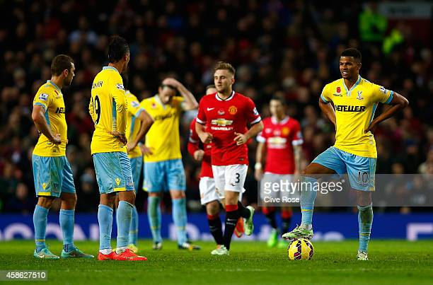 Frazier Campbell of Crystal Palace and his teammates prepare to kick off after conceding the opening goal during the Barclays Premier League match...