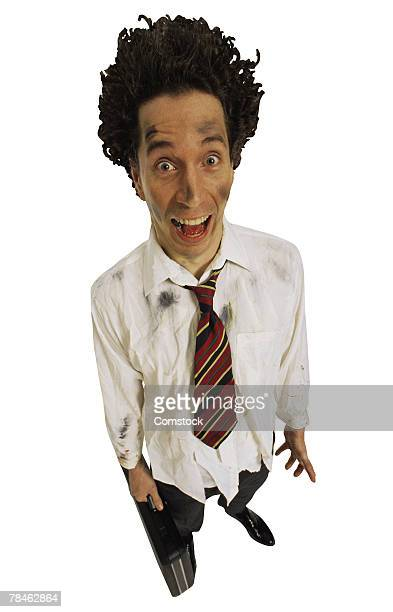 Frazzled businessman screaming