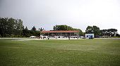 A freak hail storm hits the University Oval Dunedin during day four of the First Test match between New Zealand and Sri Lanka at University Oval on...