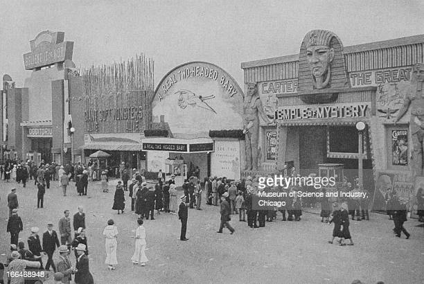 Freak shows odditoriums and 'Believe it or Not' venues saturate the west side of the Midway at the Century of Progress International Exposition in...