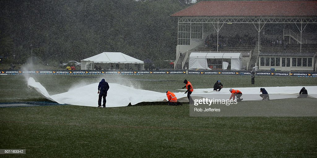 A freak wild hail storm hits the University Oval Dunedin during day four of the First Test match between New Zealand and Sri Lanka at University Oval...