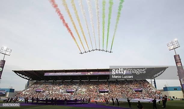 Frecce Tricolori perform above 'Mapei Stadium' before the UEFA Women's Champions League Final VfL Wolfsburg and Olympique Lyonnais between at Mario...