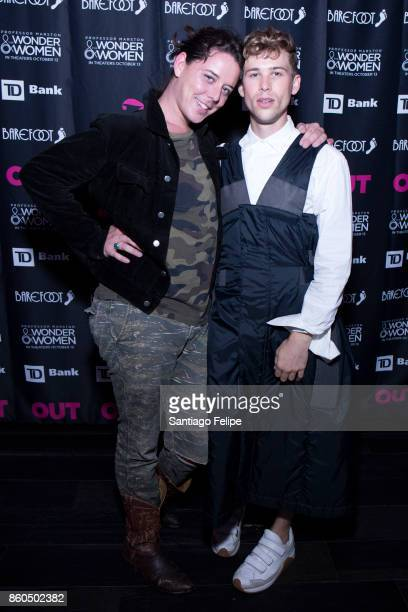 Freckle and Tommy Dorfman attend Out Magazine 25th Anniversary Celebration at PHD Rooftop Lounge at Dream Downtown on October 11 2017 in New York City
