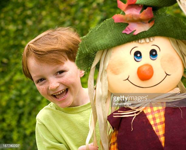 Freckle Face Redhead Laughing Child & Autumn Boy & Halloween Scarecrow Costume
