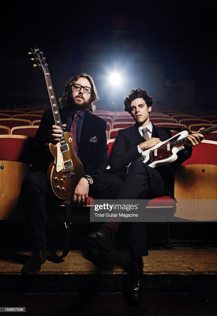 Fred Abbot (L) and Charlie Fink of English indie folk band Noah and the Whale, during a portrait shoot for Total Guitar Magazine, November 1, 2011, Bristol Colston Hall.