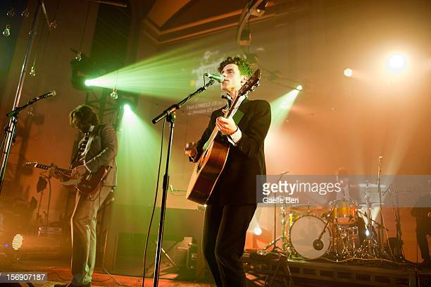 Fred Abbott and Charlie Fink of Noah and the Whale performs as part of Mencap's Little Noise Sessions at St JohnAtHackney on November 24 2012 in...