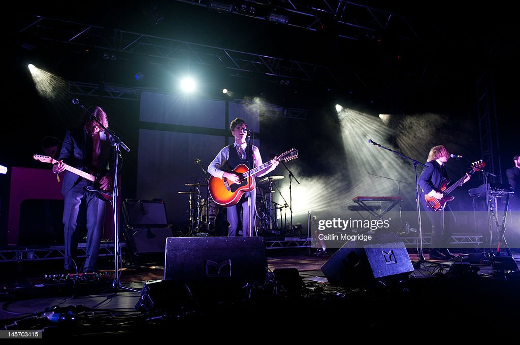 Fred Abbott, Charlie Fink and Tom Hobden of (band name} performs on stage during Apple Cart Festival at Victoria Park on June 3, 2012 in London, United Kingdom.