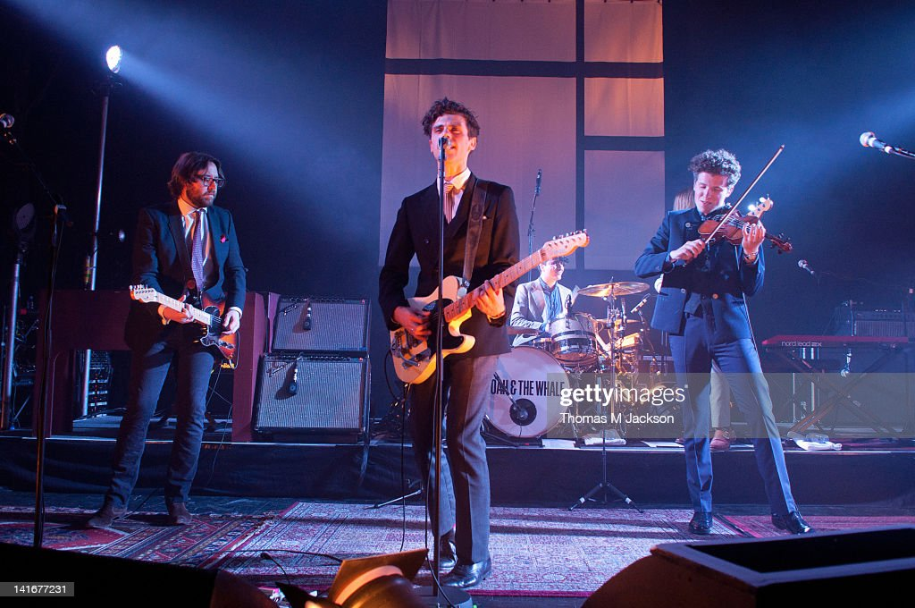 Fred Abbott Charlie Fink Matthew Petulla and Tom Hobden of Noah and the Whale perform on stage at O2 Academy on March 21 2012 in Newcastle upon Tyne...