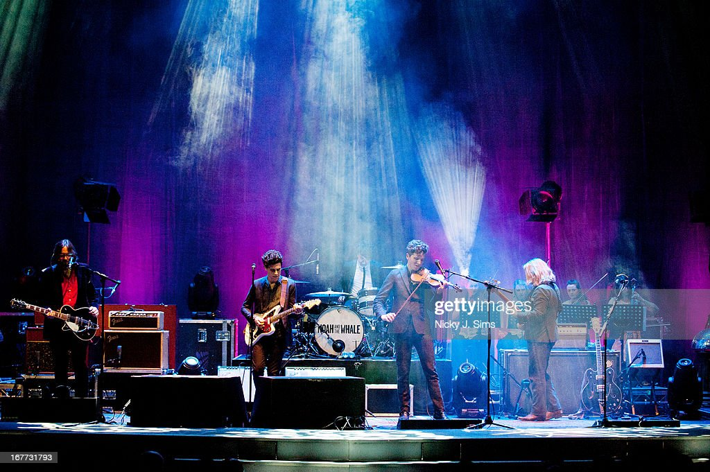 Fred Abbott Charlie Fink Miachael Petulla Tom Hobden and Matt Owens of Noah and The Whale perform on stage at Palace Theatre on April 28 2013 in...