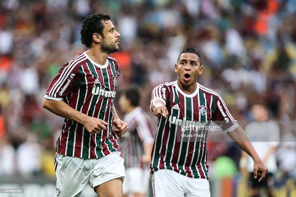 - <a gi-track='captionPersonalityLinkClicked' href=/galleries/search?phrase=Fred+-+Fluminense+Football+Club&family=editorial&specificpeople=490870 ng-click='$event.stopPropagation()'>Fred</a> and a Walter of Fluminense celebrates a scored goal during a match between Fluminense and Atletico PR as part of Brasileirao Series A 2014 at Maracana Stadium on October 25, 2014 in Rio de Janeiro, Brazil.