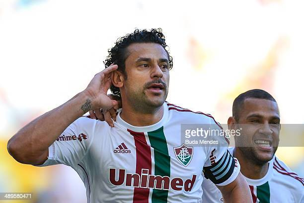 Fred and Carlinhos of Fluminense celebrate a scored goal against Flamengo during a match between Fluminense and Flamengo as part of Brasileirao...