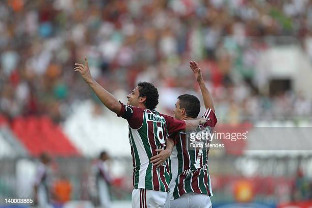 Fred and Thiago Neves of Fluminense celebrate the title againist Vasco during the final match Fluminense v Vasco as part of Rio State Championship...