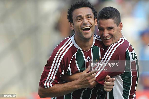 Fred and Thiago Neves of Fluminense celebrates a scored goal againist Vasco during the final match Fluminense v Vasco as part of Rio State...