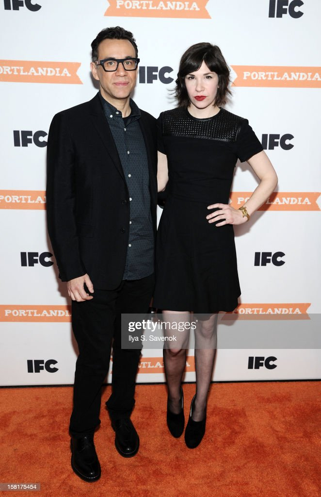 <a gi-track='captionPersonalityLinkClicked' href=/galleries/search?phrase=Fred+Armisen&family=editorial&specificpeople=221426 ng-click='$event.stopPropagation()'>Fred Armisen</a> and <a gi-track='captionPersonalityLinkClicked' href=/galleries/search?phrase=Carrie+Brownstein&family=editorial&specificpeople=870017 ng-click='$event.stopPropagation()'>Carrie Brownstein</a> attend IFC's 'Portlandia' Season 3 New York Premiere at American Museum of Natural History on December 10, 2012 in New York City.
