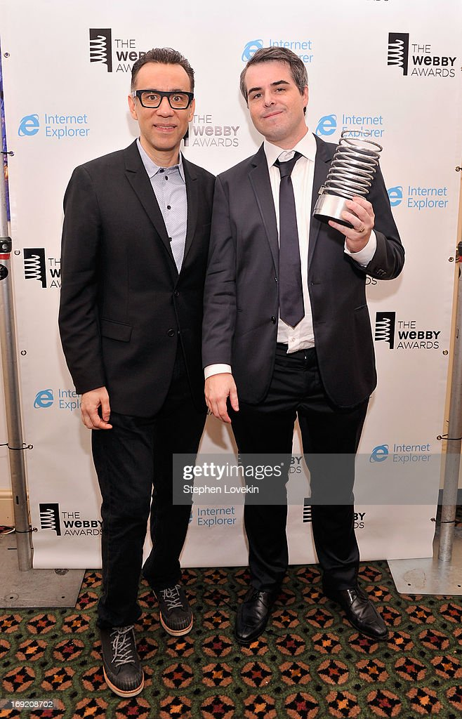 <a gi-track='captionPersonalityLinkClicked' href=/galleries/search?phrase=Fred+Armisen&family=editorial&specificpeople=221426 ng-click='$event.stopPropagation()'>Fred Armisen</a> and Ryan Schreiber pose with an award at the 17th Annual Webby Awards at Cipriani Wall Street on May 21, 2013 in New York City.