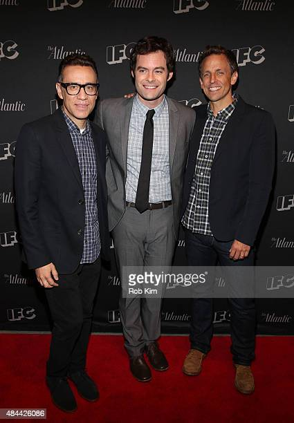 Fred Armisen Bill Hader and Seth Meyers attend the New York screening for 'Documentary Now' at New World Stages on August 18 2015 in New York City
