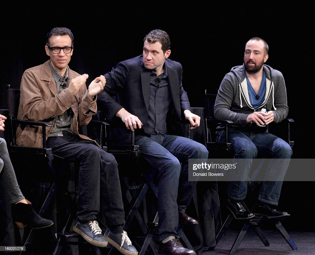 <a gi-track='captionPersonalityLinkClicked' href=/galleries/search?phrase=Fred+Armisen&family=editorial&specificpeople=221426 ng-click='$event.stopPropagation()'>Fred Armisen</a>, Billy Eichner and John Ramsey attend The New Yorker Festival 2013 - An Evening With Funny Or Die Hosted By Billy Eichner at Acura at SIR Stage37 on October 5, 2013 in New York City.