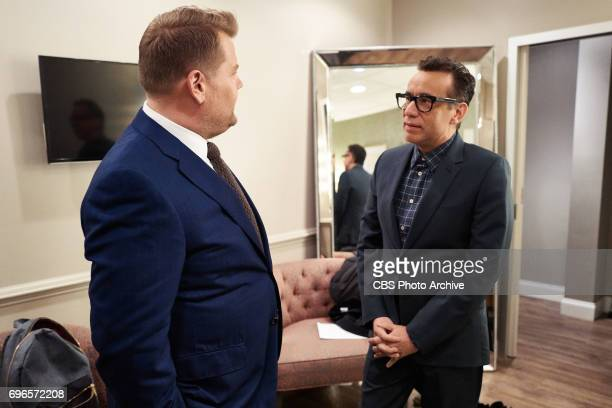Fred Armisen chats in the green room with James Corden during 'The Late Late Show with James Corden' Wednesday June 14 2017 On The CBS Television...