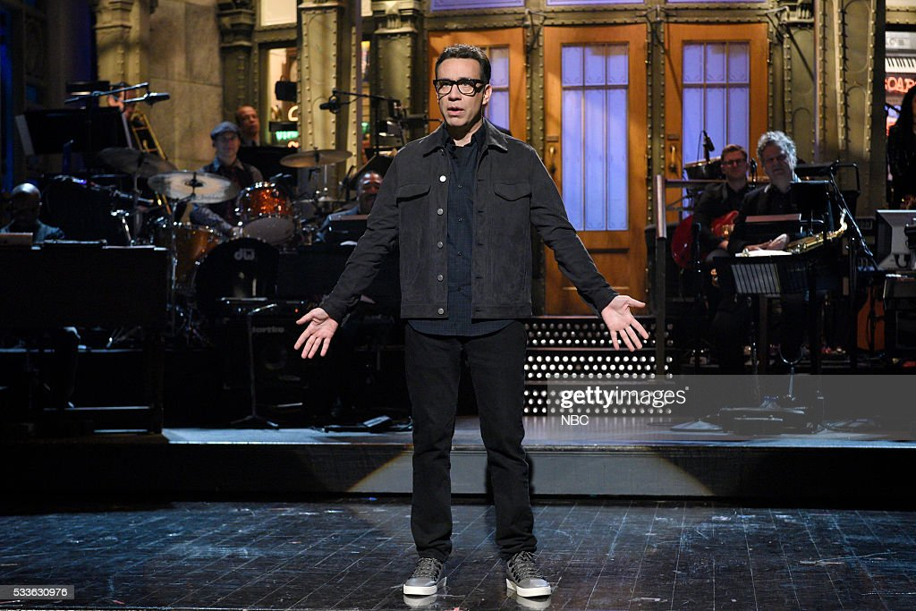LIVE 'Fred Armisen' Episode 1704 Pictured Host Fred Armisen during the monologue on May 21 2016