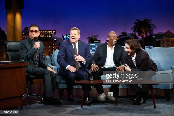 Fred Armisen Tituss Burgess and Edgar Wright chat with James Corden during 'The Late Late Show with James Corden' Wednesday June 14 2017 On The CBS...