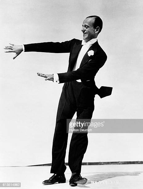 Fred Astaire dancing during the filming of Gay Divorcee