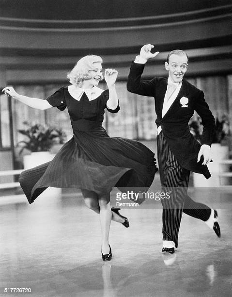 Fred Astaire plays John 'Lucky' Garnett and Ginger Rogers plays Penelope 'Penny' Carroll in the musical number 'Pick Yourself Up' in the 1936 film...