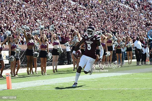 Fred Brown of the Mississippi State Bulldogs celebrates a touchdown during the third quarter of a game against the Texas AM Aggies at Davis Wade...