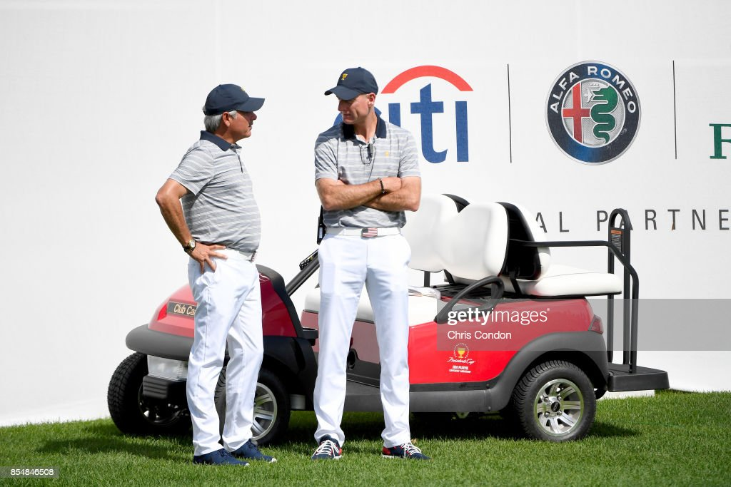 Fred Couples and Jim Furyk, Captains Assistants of the U.S. Team, chat during practice prior to the start of the Presidents Cup at Liberty National Golf Club on September 27, 2017, in Jersey City, New Jersey.