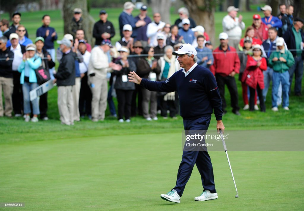 <a gi-track='captionPersonalityLinkClicked' href=/galleries/search?phrase=Fred+Couples&family=editorial&specificpeople=203076 ng-click='$event.stopPropagation()'>Fred Couples</a> birdies the 14th hole during the third round of the Charles Schwab Cup Championship at TPC Harding Park on November 2, 2013 in San Francisco, California.
