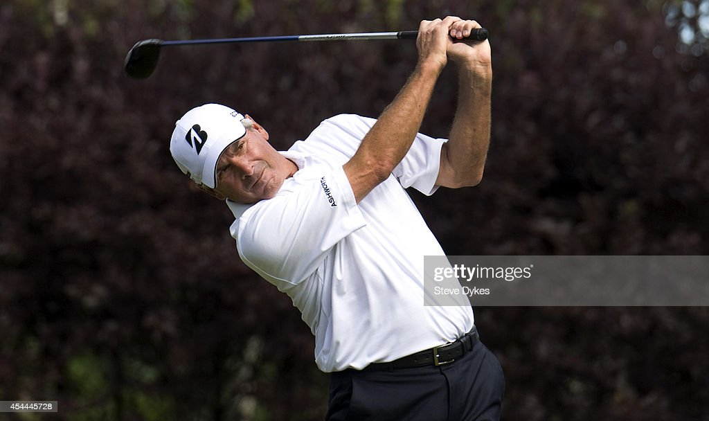 Fred Couples hits a drive on the eighth hole of regulation during the final round of the Shaw Charity Classic at the Canyon Meadows Golf & Country Club on August 31, 2014 in Calgary, Canada. Couples won the tournament in a playoff with Billy Andrade.