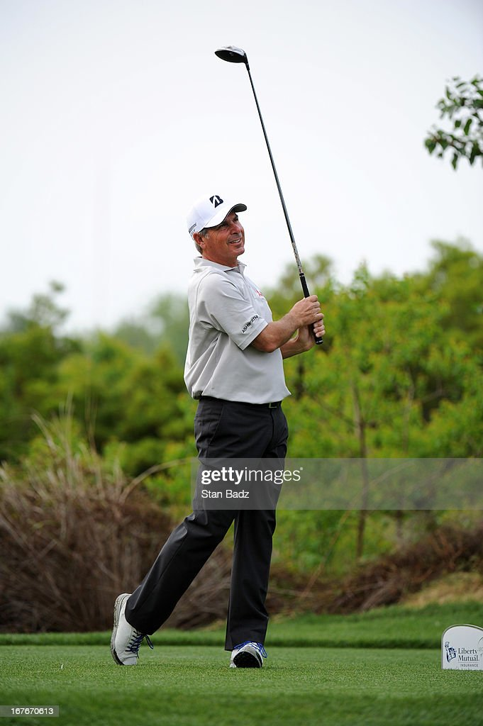<a gi-track='captionPersonalityLinkClicked' href=/galleries/search?phrase=Fred+Couples&family=editorial&specificpeople=203076 ng-click='$event.stopPropagation()'>Fred Couples</a> hits a drive on the fourth hole during the second round of the Legends Division at the Liberty Mutual Insurance Legends of Golf at The Westin Savannah Harbor Golf Resort & Spa on April 27, 2013 in Savannah, Georgia.