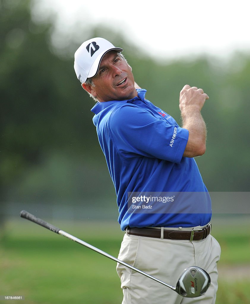 Fred Couples hits a drive on the second hole during the final round of the Legends Division at the Liberty Mutual Insurance Legends of Golf at The...