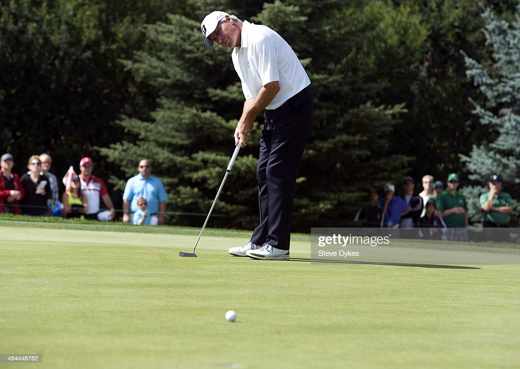 Fred Couples hits his birdie attempt on the seventh hole of regulation during the final round of the Shaw Charity Classic at the Canyon Meadows Golf & Country Club on August 31, 2014 in Calgary, Canada. Couples won the tournament in a playoff with Billy Andrade.