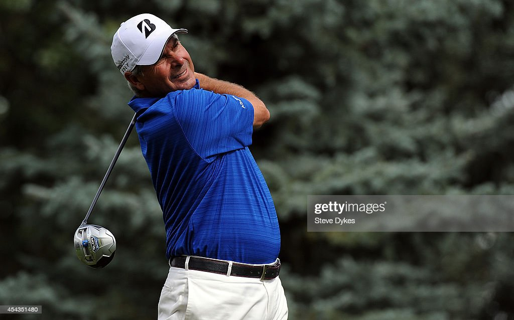 Fred Couples hits his drive on the fourth hole during the first round of the Shaw Charity Classic on August 29, 2014 in Calgary, Canada.