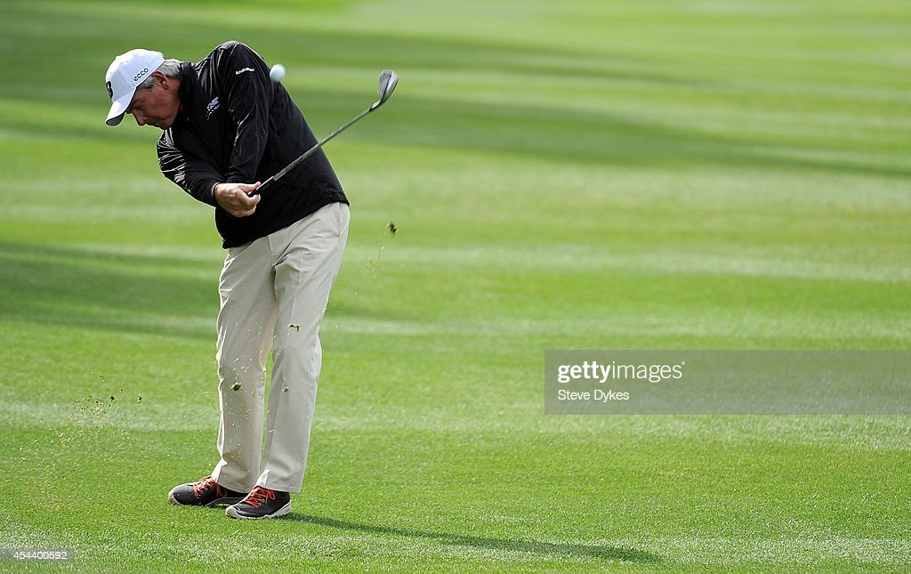 Fred Couples hits his second shot on the 10th hole during the second round of the Shaw Charity Classic at the Canyon Meadows Golf and Country Club on August 30, 2014 in Calgary, Canada.