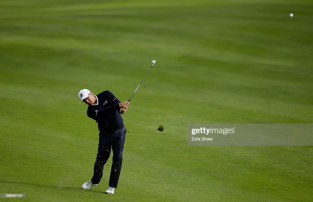 Fred Couples hits his second shot on the 15th hole during Round Three of the Charles Schwab Cup Championship at TPC Harding Park on November 2, 2013 in San Francisco, California.