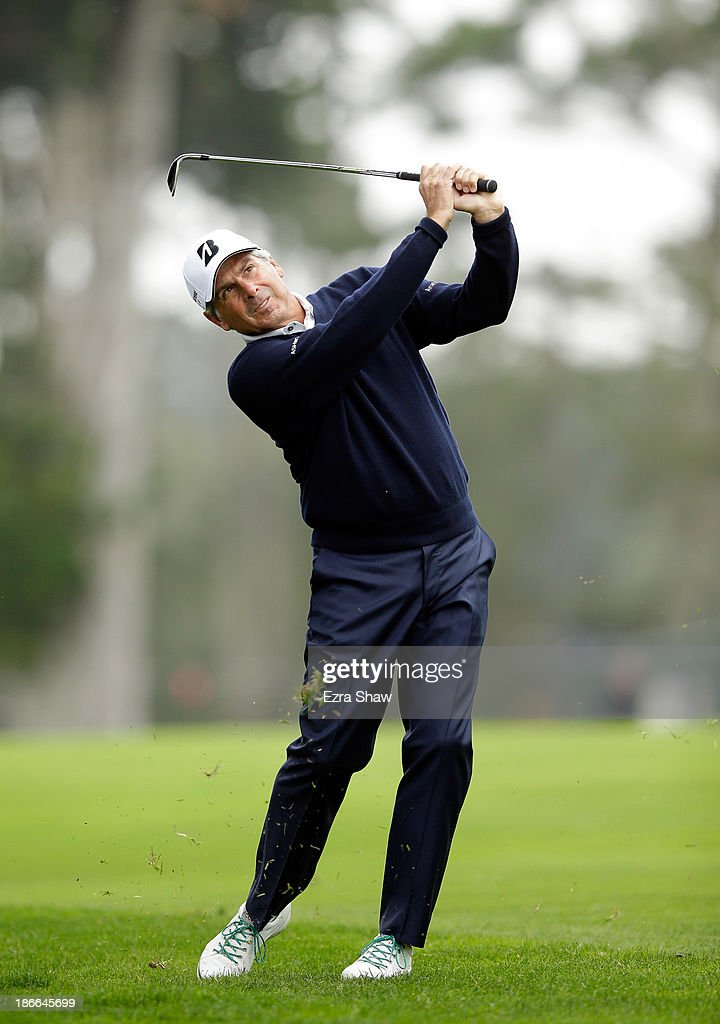 Fred Couples hits his second shot on the first hole during Round Three of the Charles Schwab Cup Championship at TPC Harding Park on November 2, 2013 in San Francisco, California.