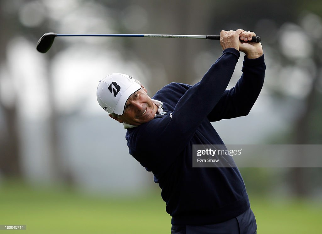 Fred Couples hits his second shot on the fourth hole during Round Three of the Charles Schwab Cup Championship at TPC Harding Park on November 2, 2013 in San Francisco, California.