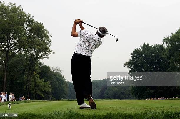 Fred Couples hits off the 11th tee box during the second round of the 2006 PGA Championship at Medinah Country Club on August 18 2006 in Medinah...