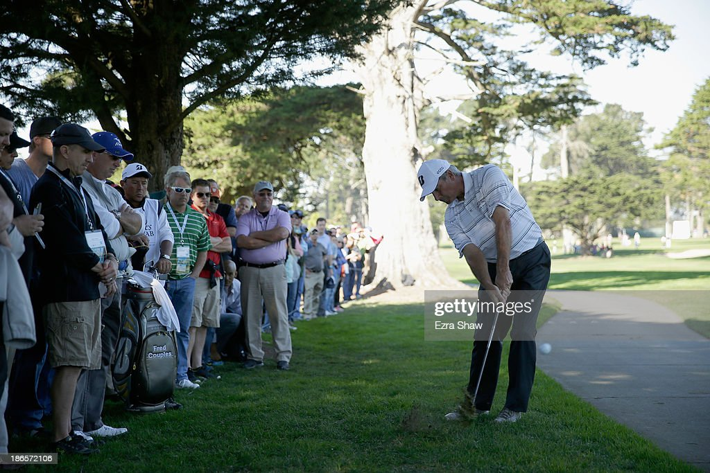 Fred Couples hits out of the rough on the second hole during Round Two of the Charles Schwab Cup Championship on November 1, 2013 in San Francisco, California.