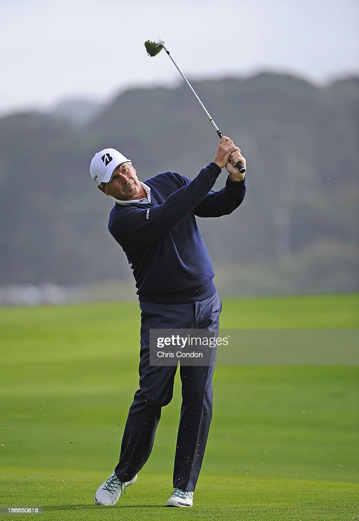 <a gi-track='captionPersonalityLinkClicked' href=/galleries/search?phrase=Fred+Couples&family=editorial&specificpeople=203076 ng-click='$event.stopPropagation()'>Fred Couples</a> hits to the 16th green during the third round of the Charles Schwab Cup Championship at TPC Harding Park on November 2, 2013 in San Francisco, California.