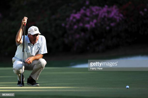 Fred Couples lines up a putt on the 13th green during the final round of the 2010 Masters Tournament at Augusta National Golf Club on April 11 2010...