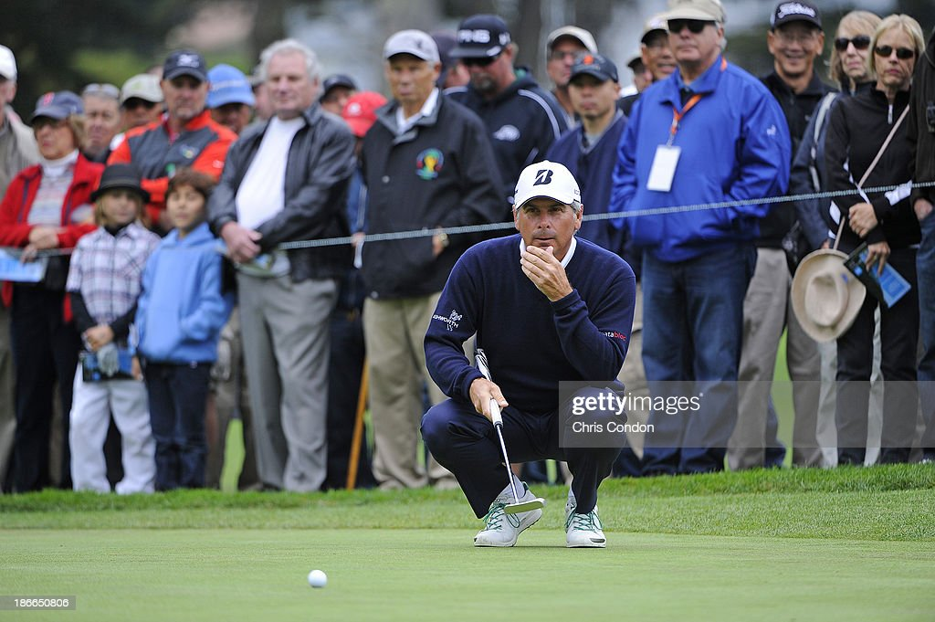 Fred Couples lines up a putt on the 3rd green during the third round of the Charles Schwab Cup Championship at TPC Harding Park on November 2, 2013 in San Francisco, California.